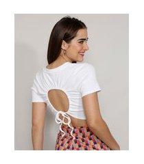 blusa cropped canelada com vazado manga curta decote redondo mindset off white