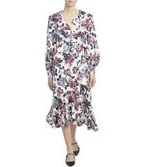 erdem women's jerridine rose blossom ruffled wrap dress - white red - size 14 uk (10 us)