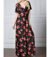 vestito maxi dalla manica corta profonda del v di stampa floreale delle donne sexy