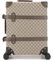 gucci monogram pattern suitcase - brown