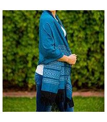zapotec cotton rebozo shawl, 'blue zapotec treasures' (mexico)