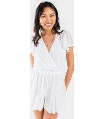 clio surplice godet dress - white