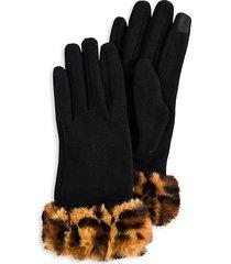 marcus adler women's paige leopard-print faux fur gloves - black
