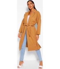 belted wrap wool look coat, stone