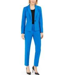 le suit petite one-button straight-leg pantsuit