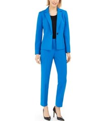 le suit petite one-button straight-leg pantsuit