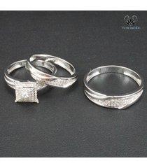 10k white gold plated 925 silver diamond men's women's trio engagement ring set