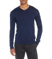men's life/after/denim tournament regular fit v-neck sweater, size medium - blue