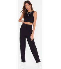 womens black high-waisted tapered pants