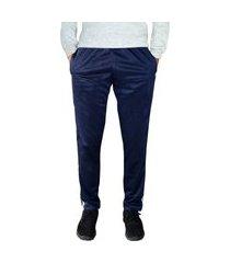 calça esporte ks tecido agasalho cós de elástico bolsos frontais e faixas nas laterais ref. 0282 marinho