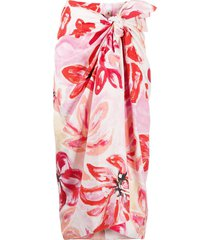 marni clematis print tie-front skirt - white