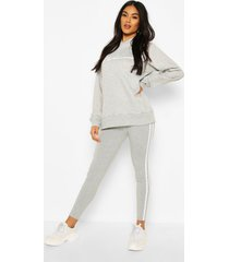 woman hoodie and legging tracksuit, grey