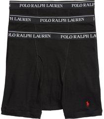 men's polo ralph lauren 3-pack cotton boxer briefs, size x-large - grey
