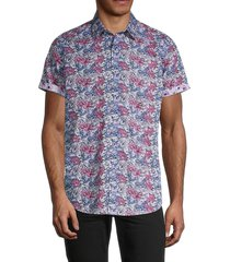 robert graham men's classic-fit floral shirt - pink - size xl