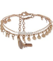 lonna & lilly gold-tone 2-pc. set imitation pearl & shaky disk ankle bracelets