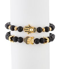 eye candy la men's ethan 2-piece hamsa + buddha goldtone lava beaded bracelet set