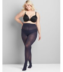 lane bryant women's opaque smoothing tights - 50 d sheer to waist e-f dark water