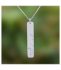 sterling silver pendant necklace, 'braille belief' (thailand)