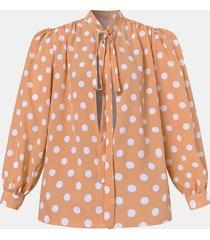 camicetta annodata sciolta a maniche lunghe a sbuffo con stampa a punti per donna