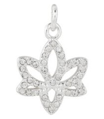 fine silver plated crystal lotus charm