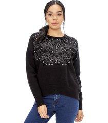 sweater brillos negro corona