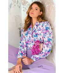 floral print blouse lila