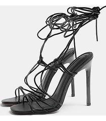 robin black ankle tie strappy sandals - black