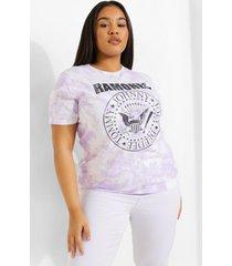 plus gelicenseerd tie dye ramones t-shirt, purple