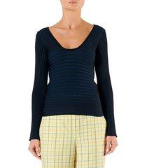 tibi women's ribbed scoopneck wrap pullover - black multi - size xs