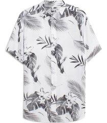 camisa hombre flores hawai color blanco, talla l