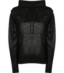 diesel open knit hoodie - black