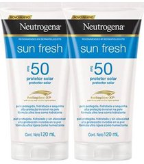 kit 2 protetor solar neutrogena sun fresh fps 50 120ml