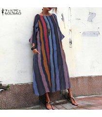 zanzea mujeres multicolor raya del arco iris vestido de cambio de cuerpo entero vestido maxi largo del tamaño extra grande -rojo