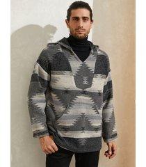 sudadera con capucha de manga larga con bolsillo de canguro y estampado tribal de lana para hombre