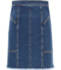 kickback denim mini skirt