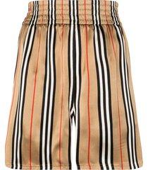 burberry marsett icon striped silk shorts - brown
