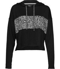 dkny shadow play hoodie long sl. top zwart dkny homewear