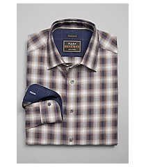 reserve collection traditional fit spread collar plaid cotton and cashmere blend men's sportshirt clearance