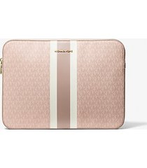 mk custodia per laptop da 15 jet set a righe con logo - ballet multi - michael kors