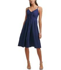 kensie tie-front picnic a-line dress