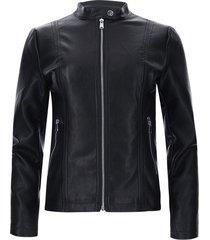 chaqueta mujer tipo cuero negra color negro, talla m