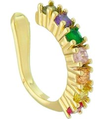 piercing de pressã£o piuka jana zircã´nias coloridas folheado a ouro 18k - multicolorido - feminino - dafiti