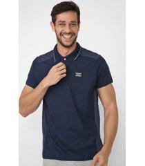 camisa polo fatal reta recortes azul-marinho