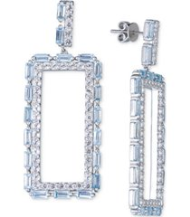 blue topaz square drop hoop earrings (4 ct. t.w.) in sterling silver