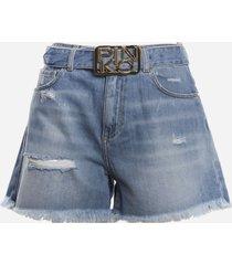pinko cotton denim shorts with fringed hem