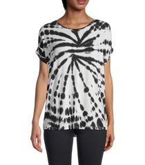 marc new york performance women's spiral tie-dye t-shirt - black white - size m