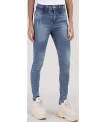calça jeans feminina sawary cigarrete cintura média azul médio
