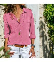 nueva llegada 2019 blusa mujeres sólido camisa de manga larga casual-rosa