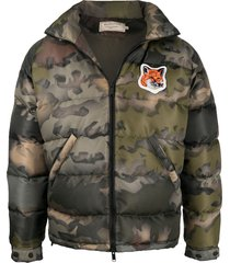 maison kitsuné fox head patch down jacket - green