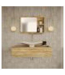 conjunto para banheiro bancada com cuba f44 folha e espelheira city 801 carvalho
